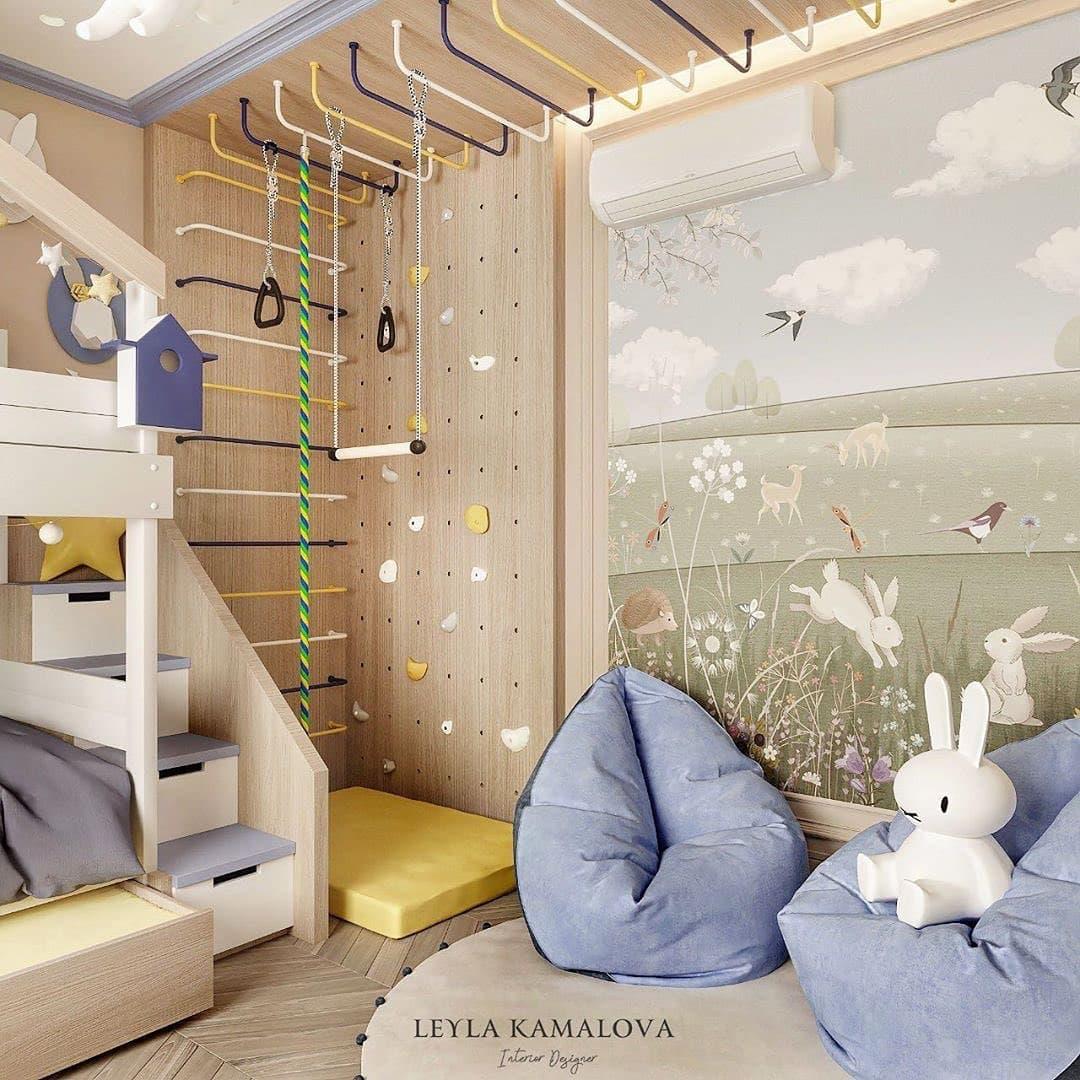 Дизайн-проект маленькой детской комнаты со спортивным уголком 2