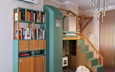 Уникальный дизайн-проект детской спальни для девочки — интерьер в стиле джунглей с удобной мебелью