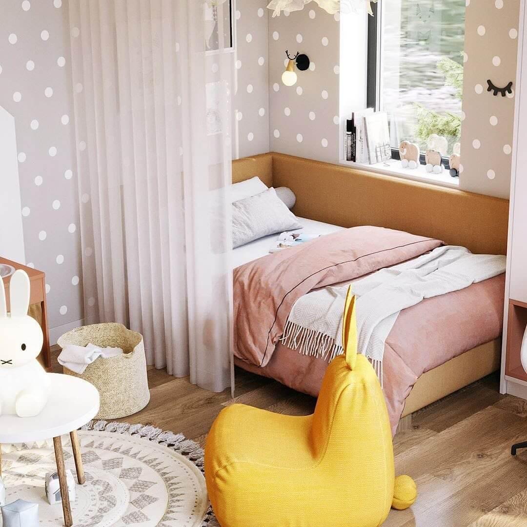 Дизайн спальни для девочки с игровой зоной 1