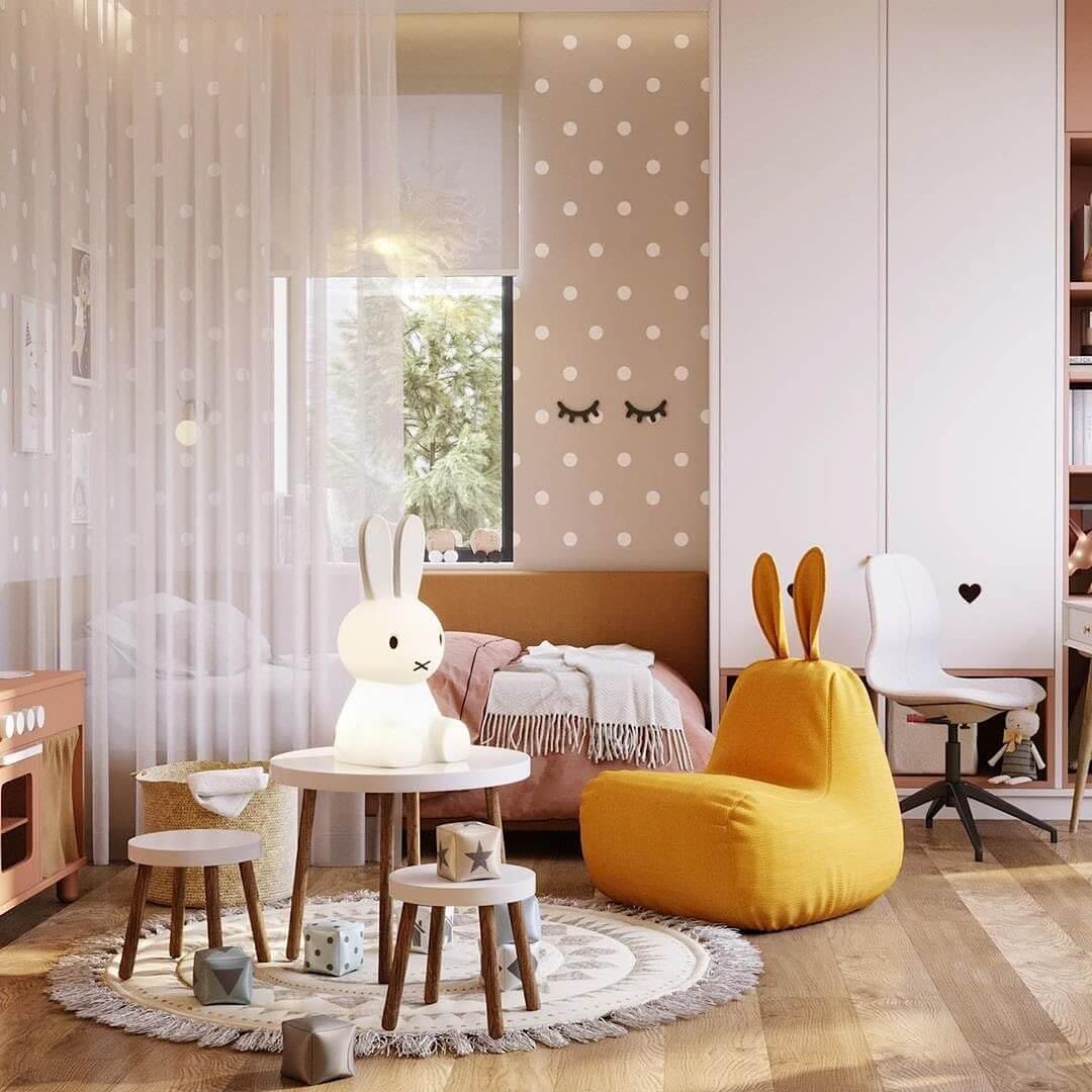Дизайн спальни для девочки с игровой зоной 2
