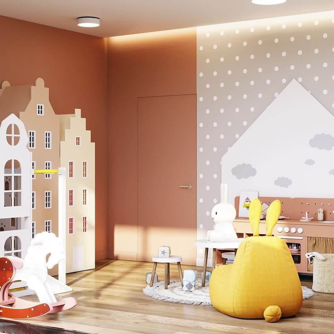 Дизайн спальни для девочки с игровой зоной 4