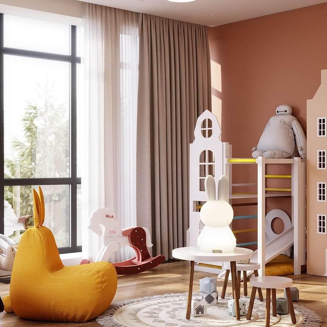 Дизайн спальни для девочки с игровой зоной 5