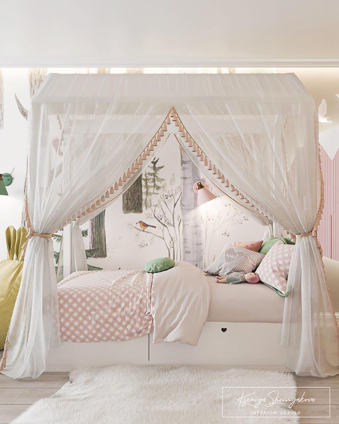 Дизайнерский интерьер детской комнаты для двух девочек 1