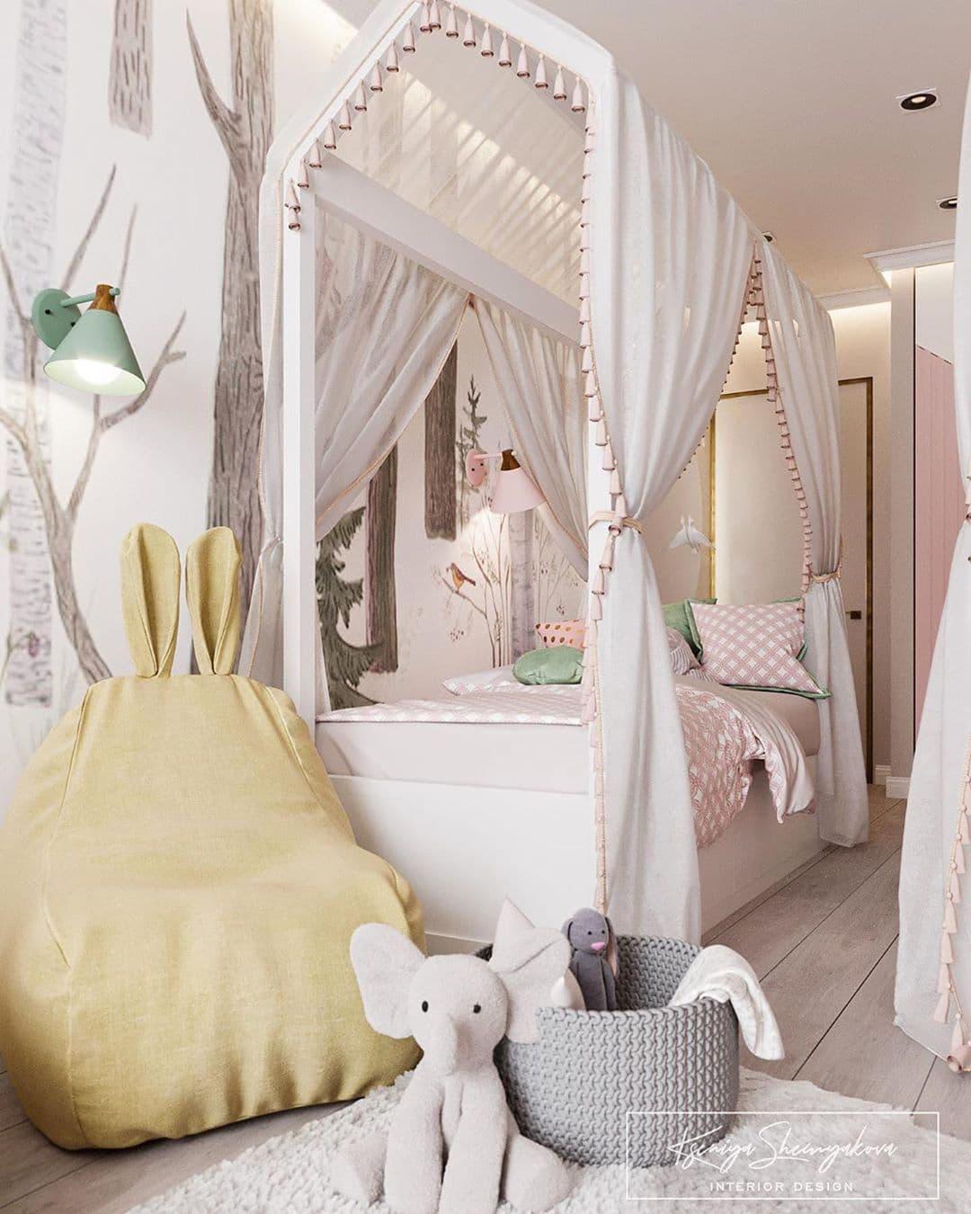 Дизайнерский интерьер детской комнаты для двух девочек 2