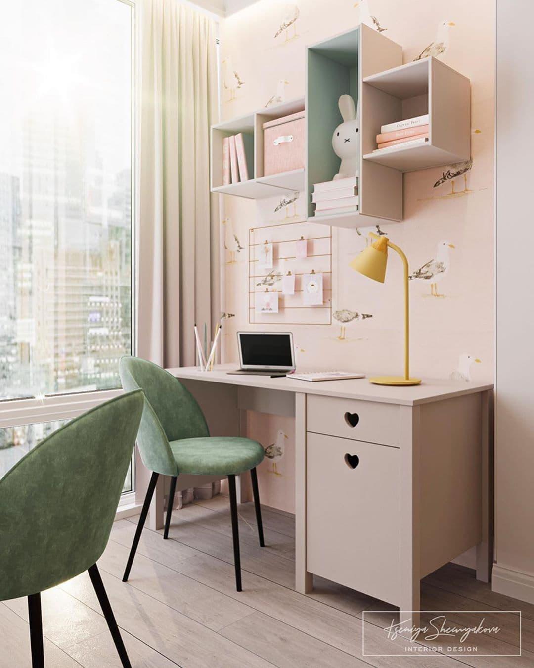 Дизайнерский интерьер детской комнаты для двух девочек 5