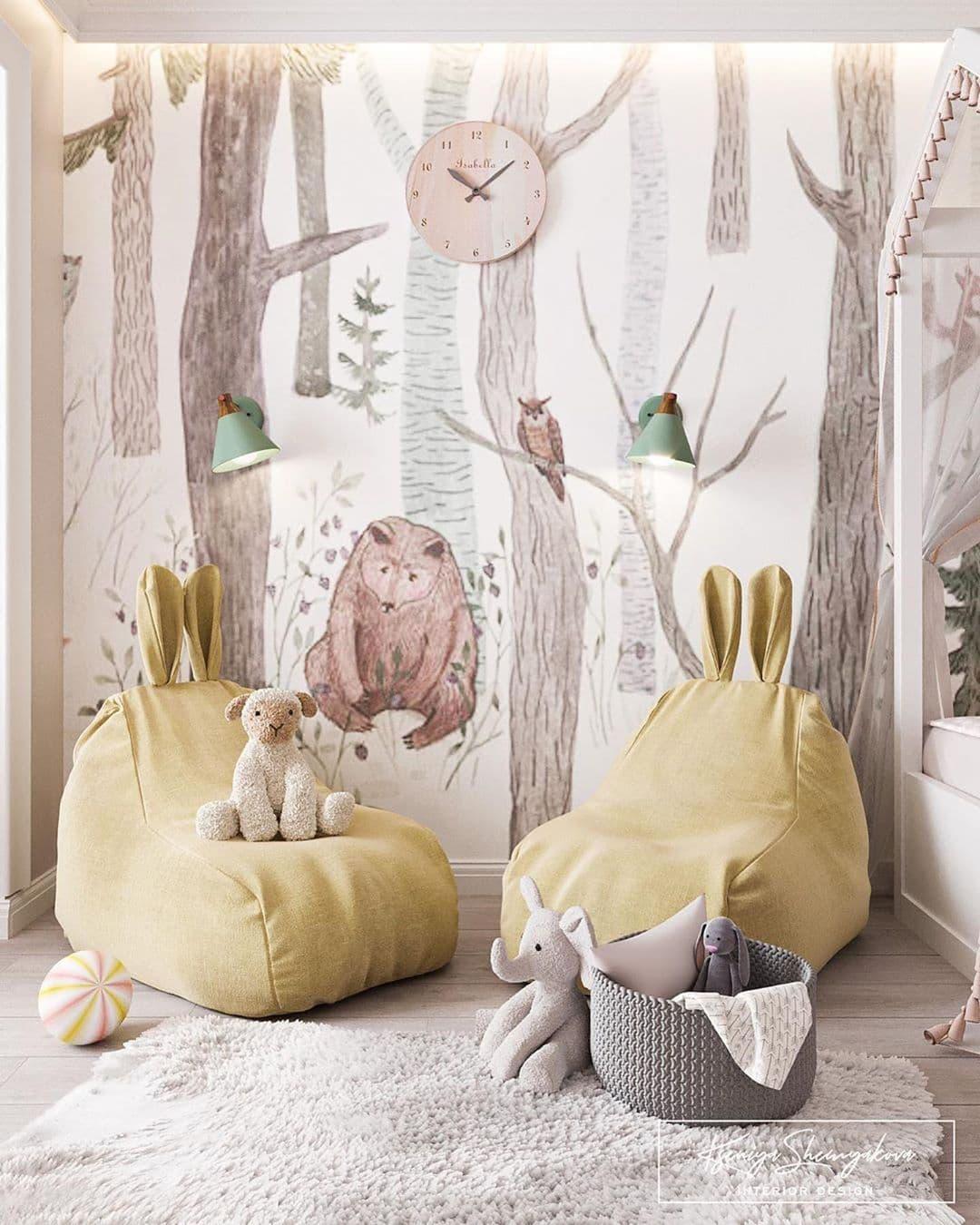 Дизайнерский интерьер детской комнаты для двух девочек 7