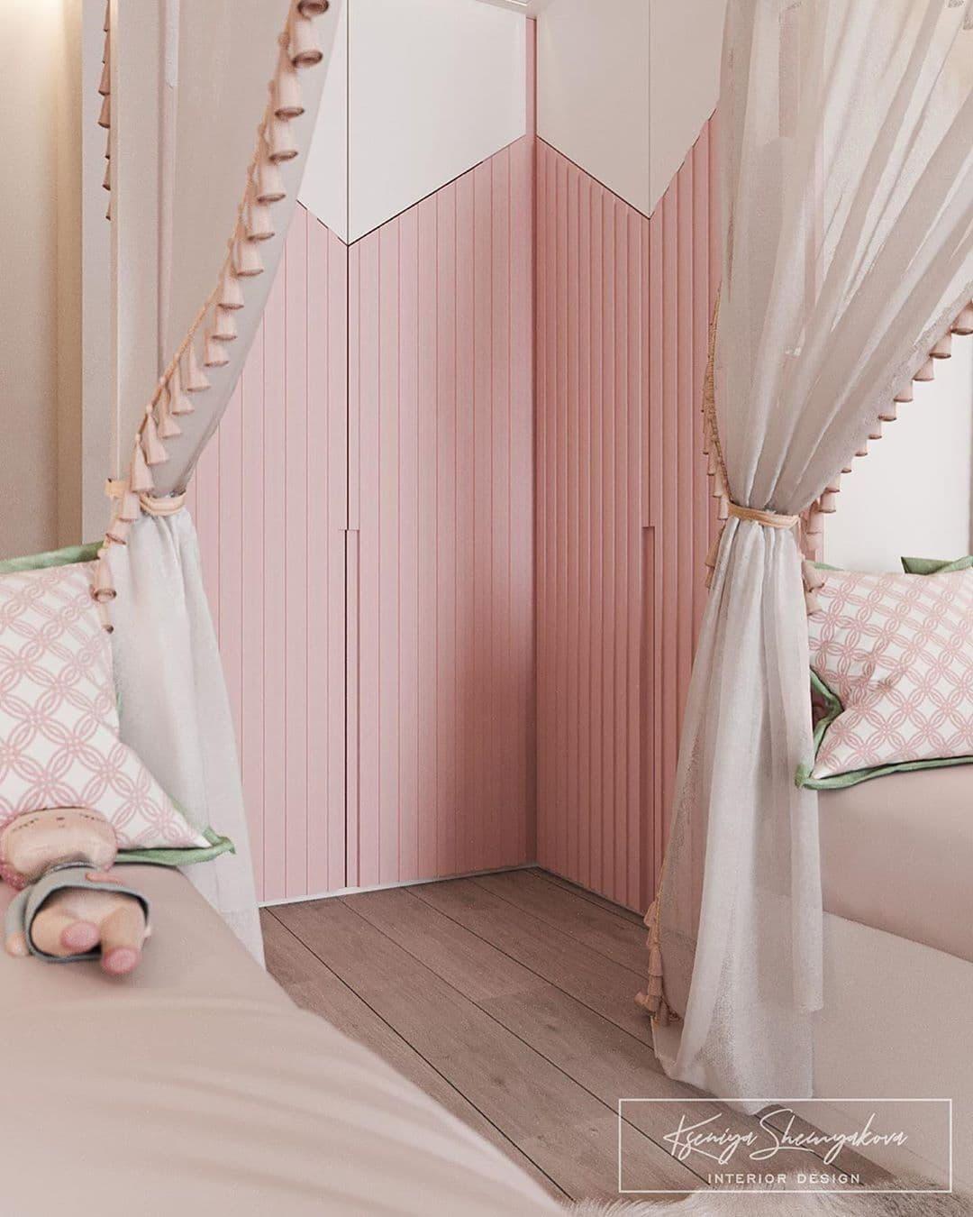 Дизайнерский интерьер детской комнаты для двух девочек 8