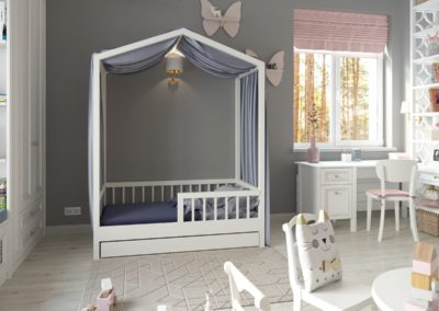 Детская для девочки со сказочным декором и белой мебелью