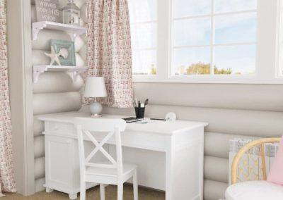 Нежный интерьер детской с белоснежной мебелью из дерева