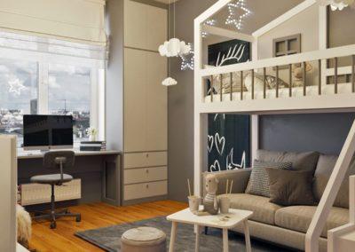 Лаконичная детская спальня с деревянной мебелью