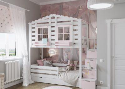 Светлая спальня с двухъярусной кроваткой для двух девочек