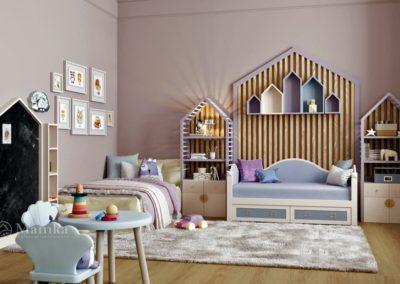 Уютная детская комната со сказочной мебелью и декором