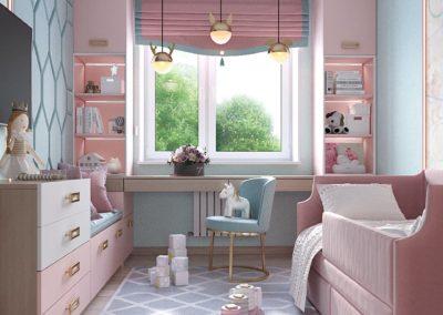 Спальня для девочки с дизайнерской мебелью в розовом оттенке