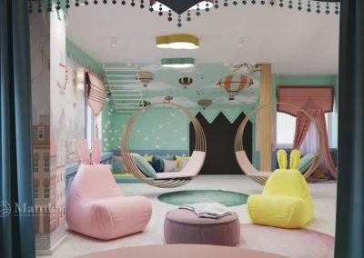 Сказочный дизайн комнаты для девочки с игровой зоной в виде замка