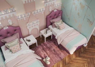 Спальня для двух девочек с волшебной спальной зоной