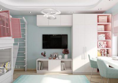 Комната для двух девочек со сказочной кроватью-домиком