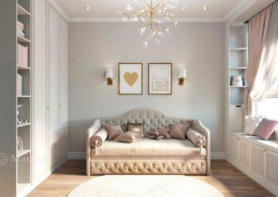 Детская комната для девочки с классической мебелью