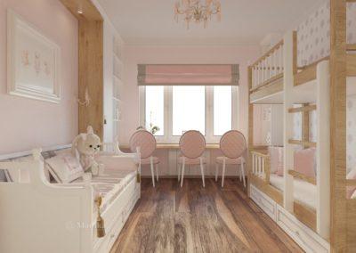Спальня с классическим интерьером в розовых цветах
