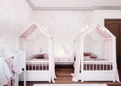 Уютная спальня для двух девочек с дизайнерской мебелью