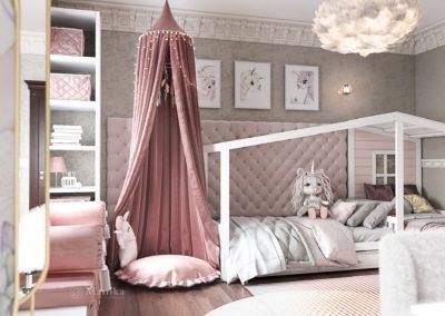 Детская спальня в розовых цветах для девочки