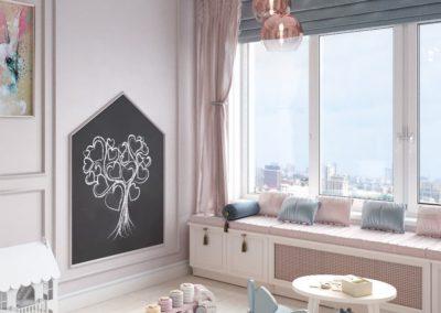 Сказочная детская комната в розовых и карамельных тонах