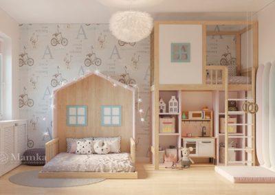 Интерьер спальни для девочки в виде сказочного городка