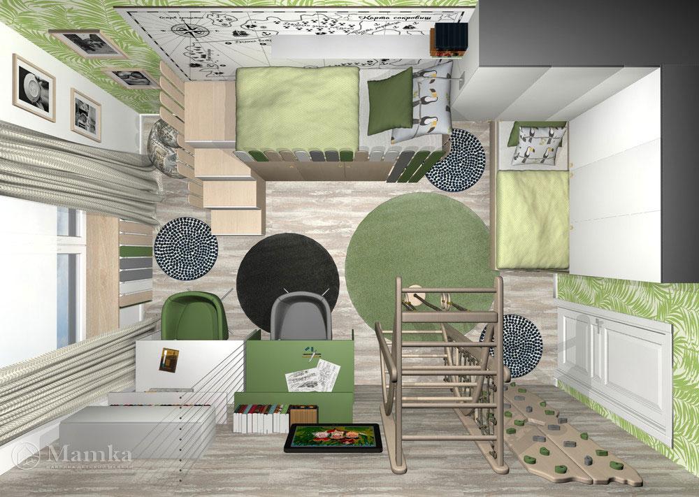 Дизайн детской для двух мальчиков с практичным зонированием 3