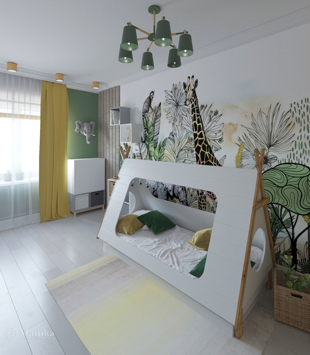 Яркий дизайн детской комнаты с анималистичными мотивами 1