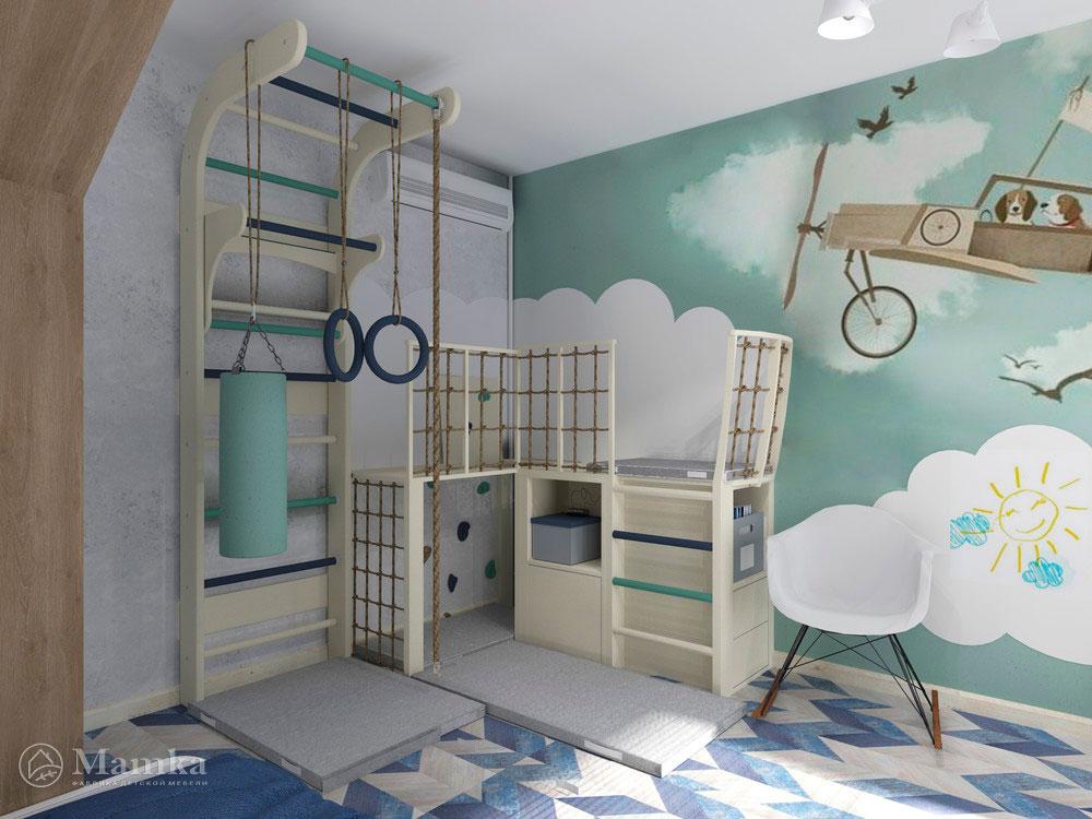 Дизайн детской для двух мальчиков с распределением зон 12