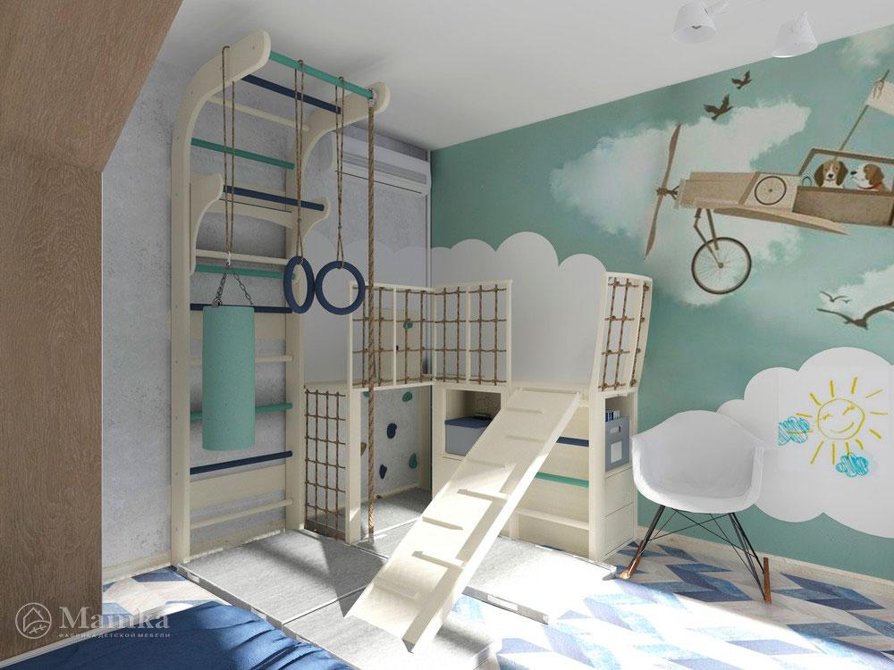 Дизайн детской для двух мальчиков с распределением зон 13