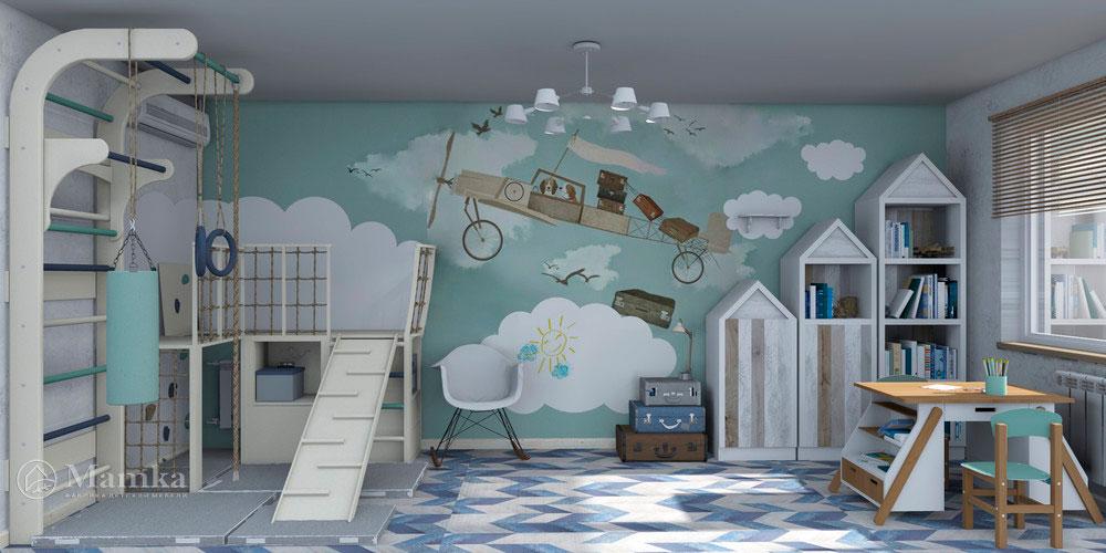 Дизайн детской для двух мальчиков с распределением зон 2