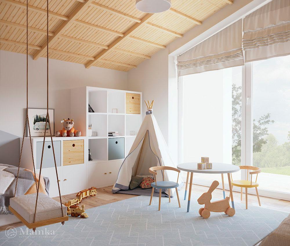 Дизайн детской комнаты с большой игровой зоной 5