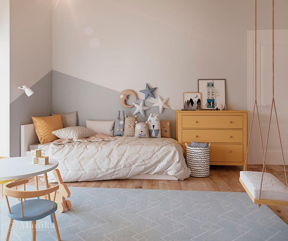 Дизайн детской комнаты с большой игровой зоной 7