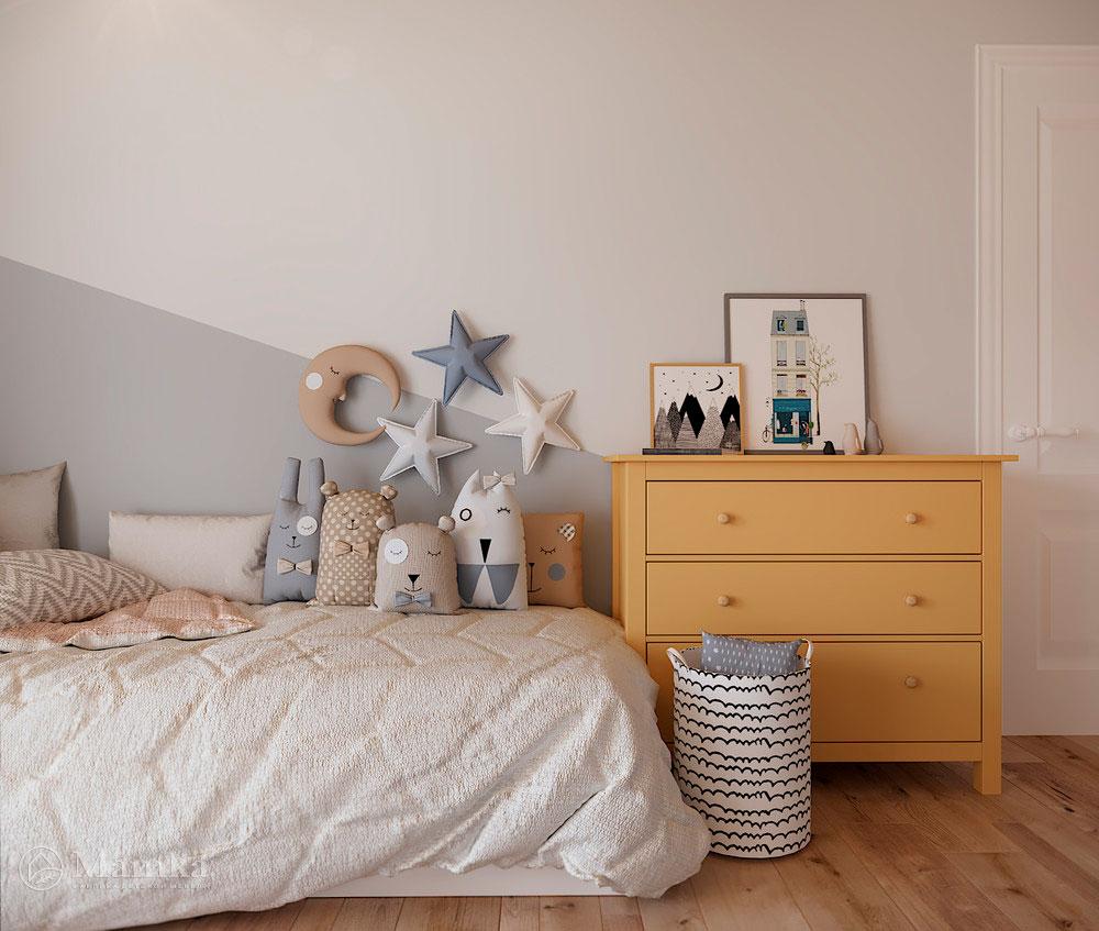 Дизайн детской комнаты с большой игровой зоной 8