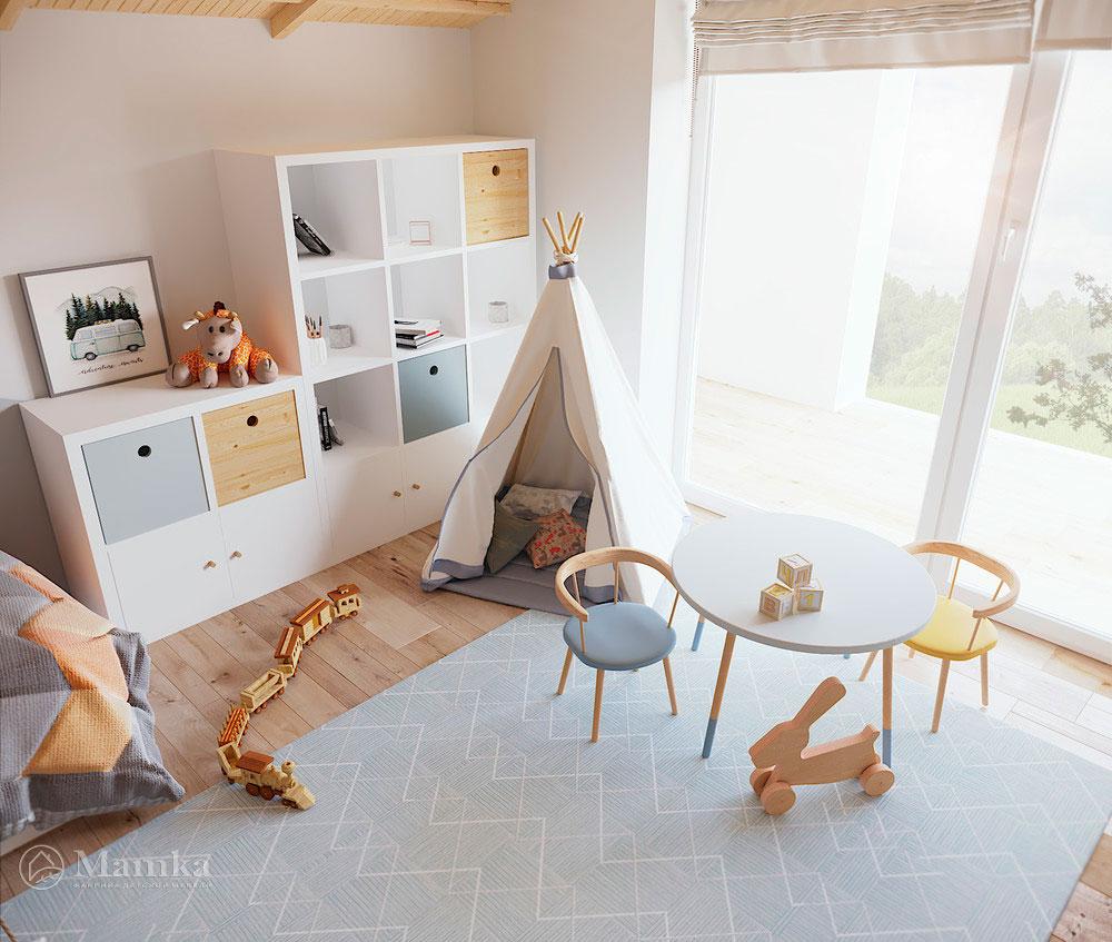 Уютный дизайн детской комнаты со стильным натуралистическим декором