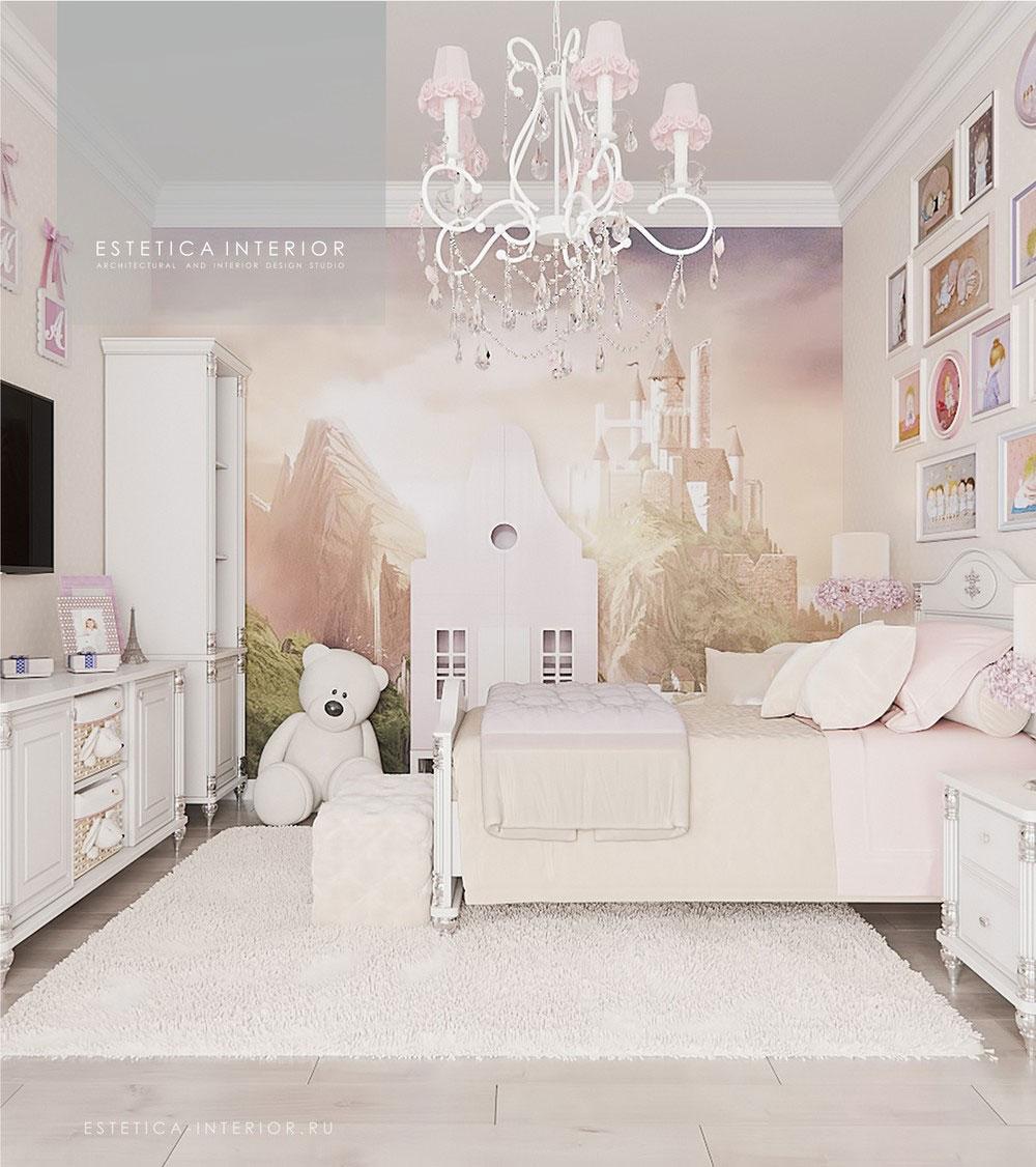 Дизайн детской комнаты для девочки с нежным оформлением 1