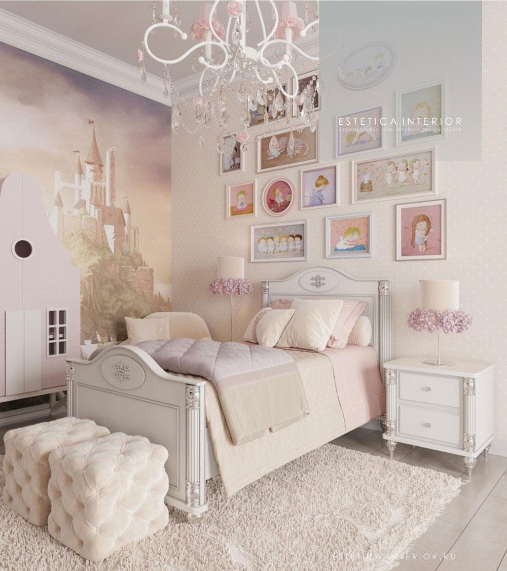 Дизайн детской комнаты для девочки с нежным оформлением 2