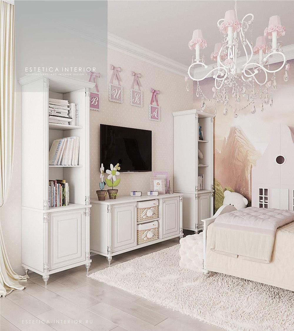 Дизайн детской комнаты для девочки с нежным оформлением 3