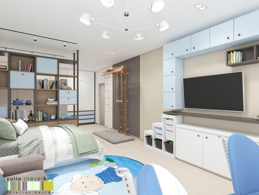 Дизайн детской комнаты для двоих с необычным зонированием 1