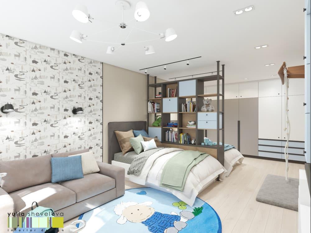 Дизайн детской комнаты для двоих с необычным зонированием 2