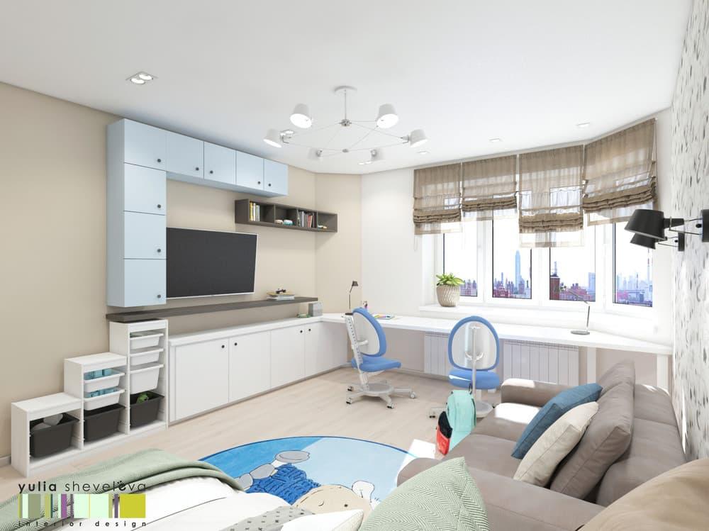 Дизайн детской комнаты для двоих с необычным зонированием 3