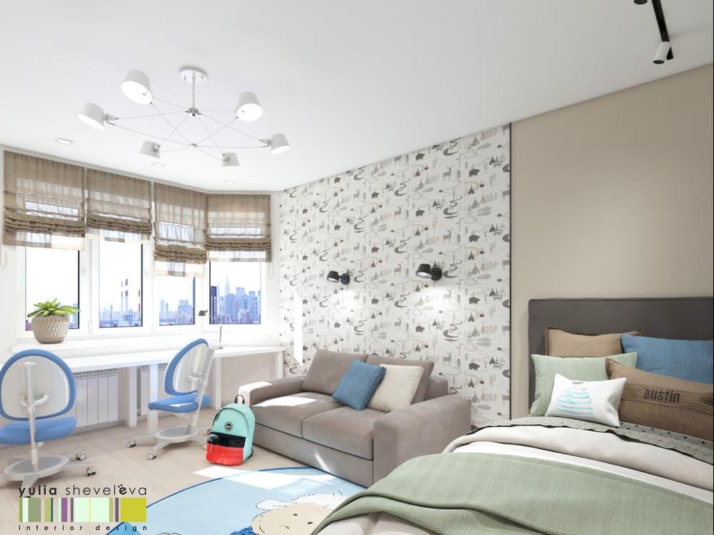 Дизайн детской комнаты для двоих с необычным зонированием 4