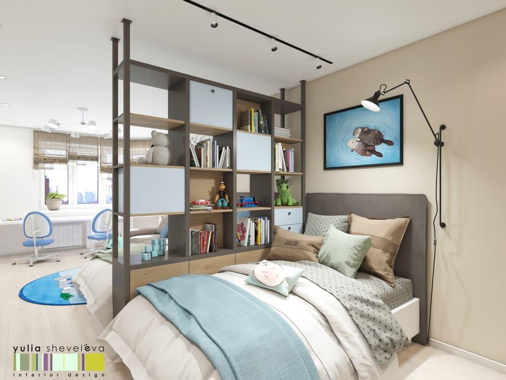 Дизайн детской комнаты для двоих с необычным зонированием 5