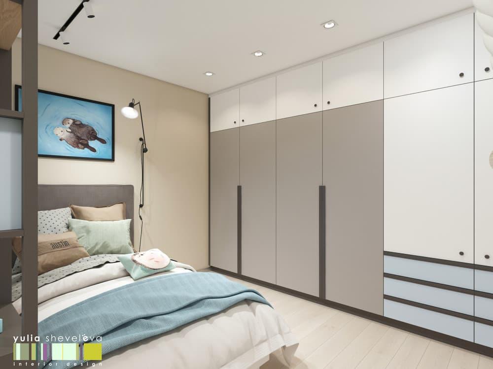 Дизайн детской комнаты для двоих с необычным зонированием 6