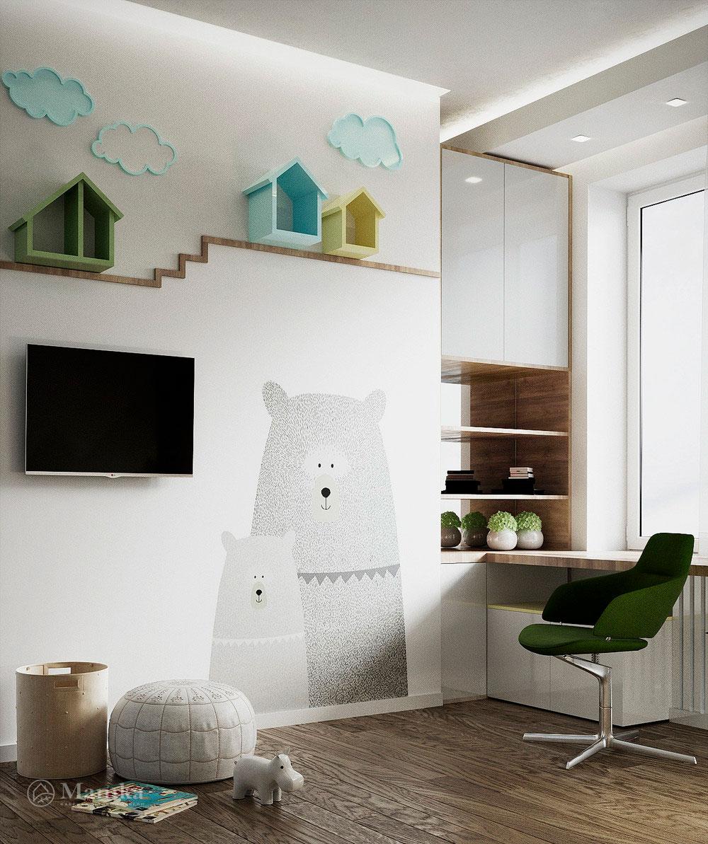 Дизайн детской комнаты в нежных тонах с функциональной мебелью 1