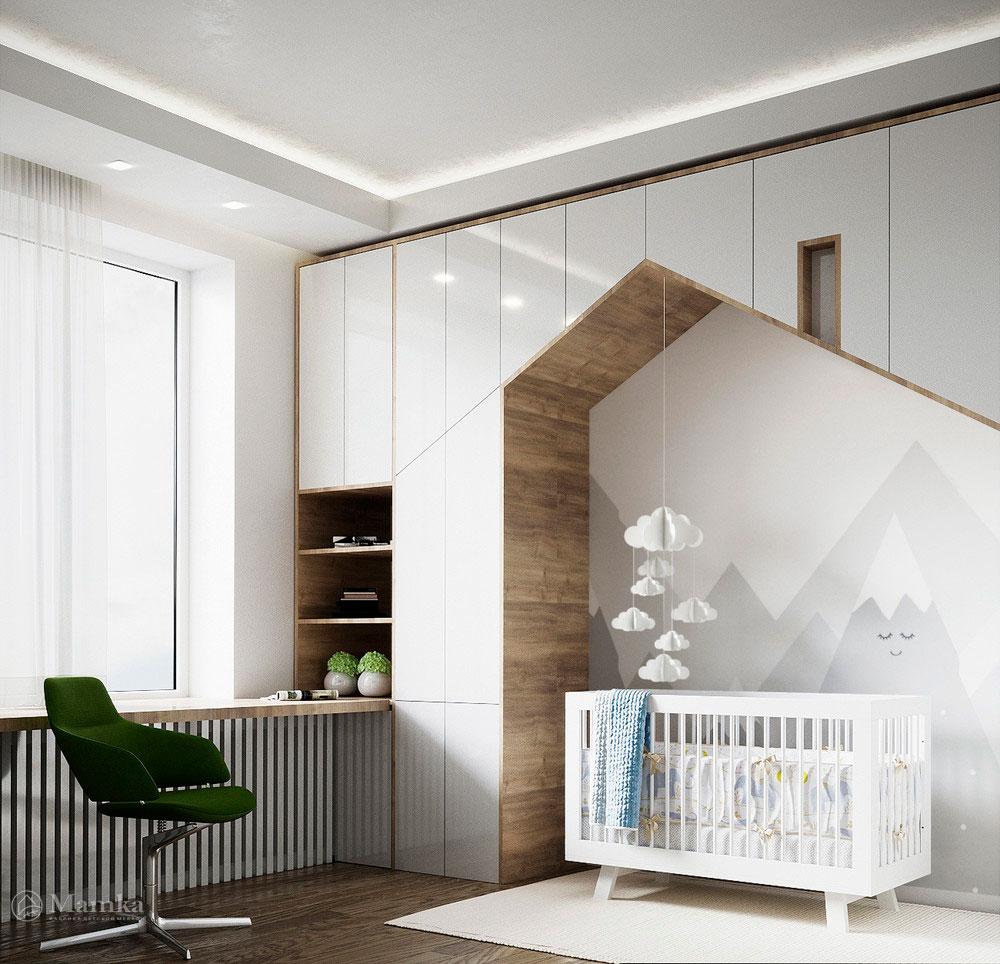 Дизайн детской комнаты в нежных тонах с функциональной мебелью 2