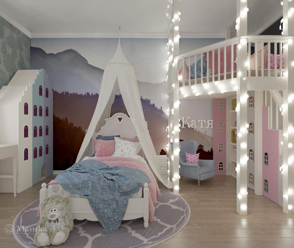 Дизайн детской комнаты с двухъярусной кроватью 1