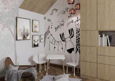 Детская комната с минималистской мебелью из дерева