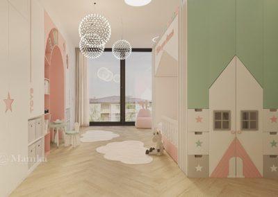 Универсальная детская комната для девочки в пастельных тонах