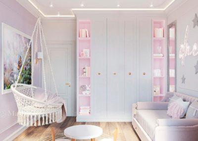 Дизайн детской комнаты с качелей для девочки